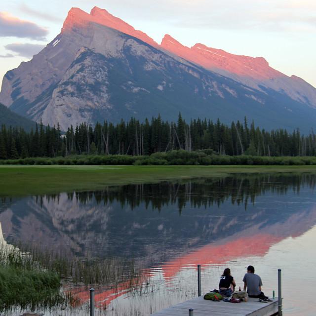 """Couple on dock, Vermilion lakes"" stock image"