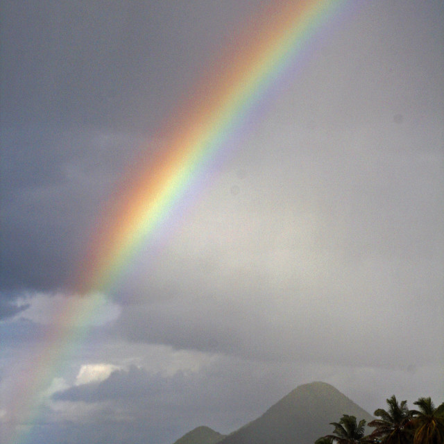 """Rainbow over Tortola"" stock image"