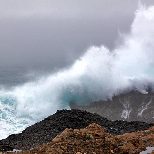 """""""Crashing waves, Big Sur coast"""" stock image"""