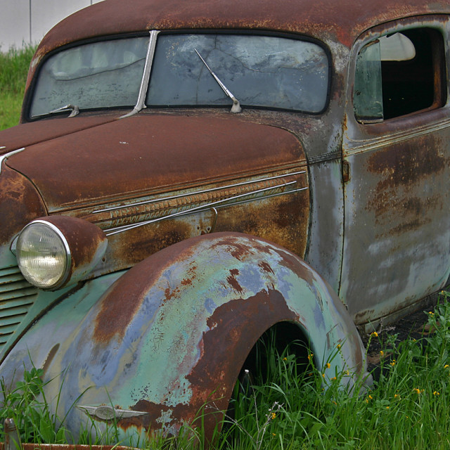 """""""Old car, central California"""" stock image"""