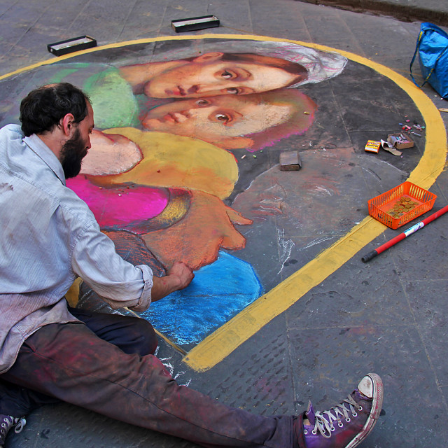"""""""Street painter, Florence Italy"""" stock image"""