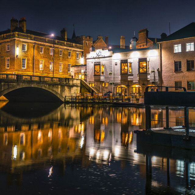 """""""Long Exposure Reflections from the River Cam, Cambridge UK."""" stock image"""