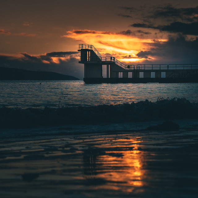 """""""Blackrock as Sunset in Salthill, Galway, Ireland"""" stock image"""