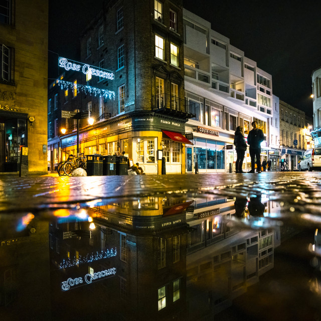 """Night reflections from St Mary's Street, Cambridge UK."" stock image"
