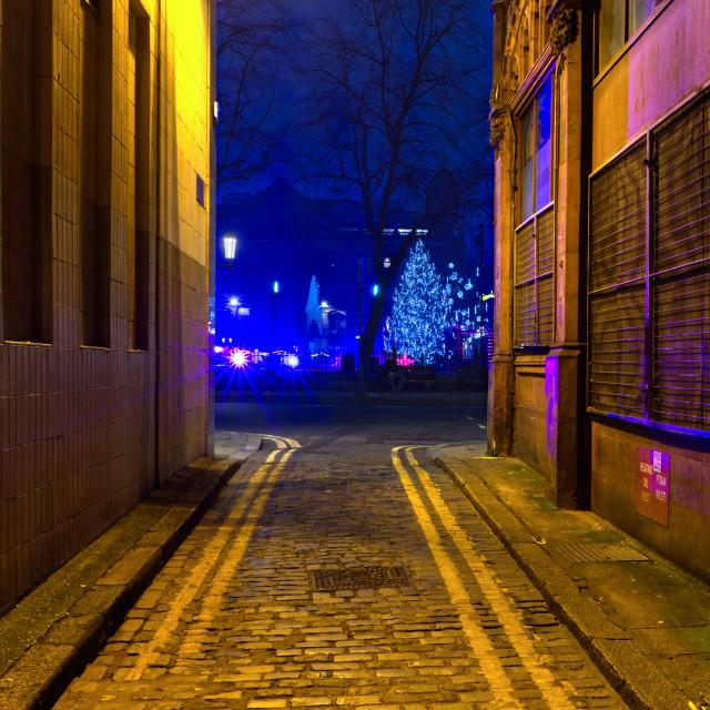 """""""Belfast Alleyway Christmas 2020"""" stock image"""
