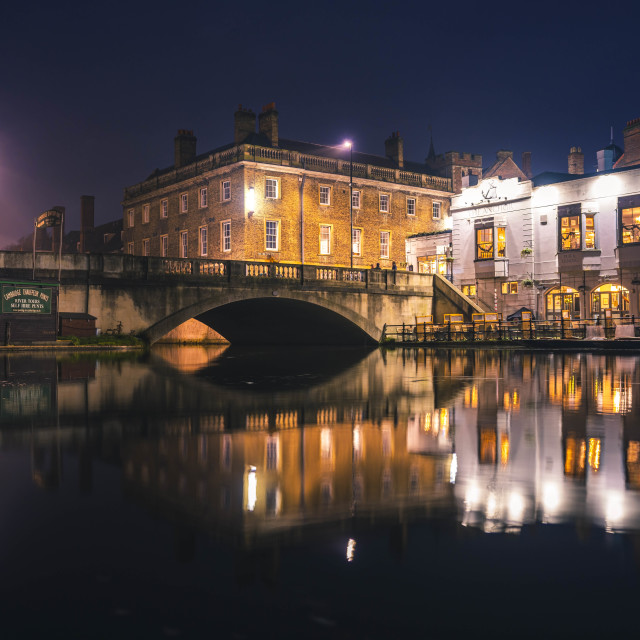 """""""Night reflections from The River Cam, Cambridge UK."""" stock image"""
