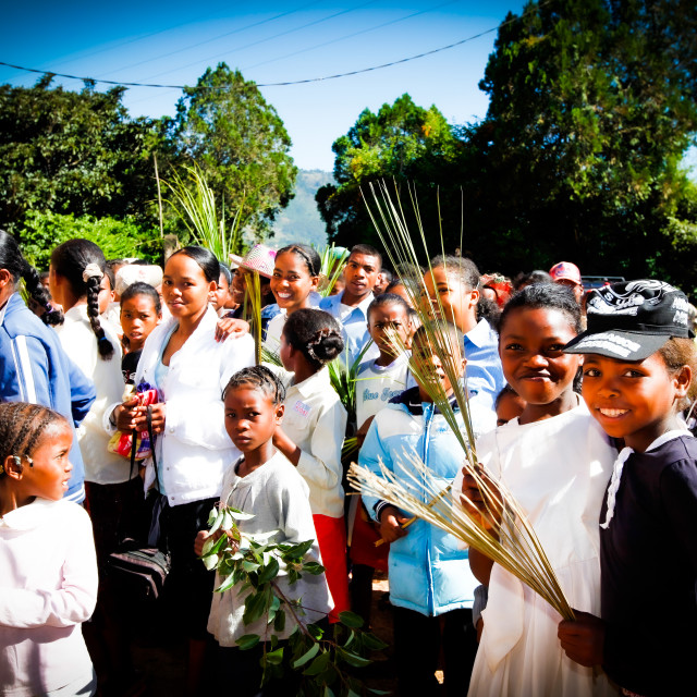"""Palm Sunday Procession at Catholic Church"" stock image"