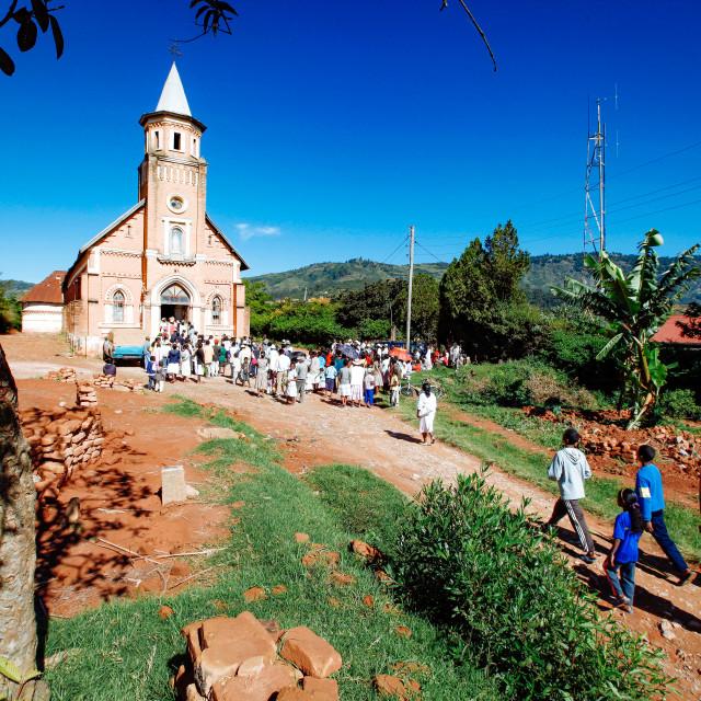 """Palm Sunday Procession at Catholic Church"" stock image"