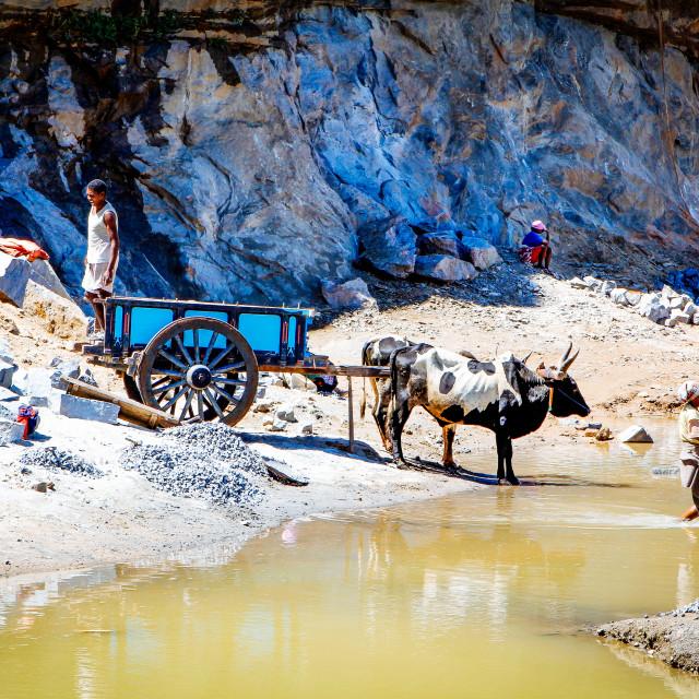 """""""Schufterei im Steinbruch - Backbreaking work in the quarry"""" stock image"""