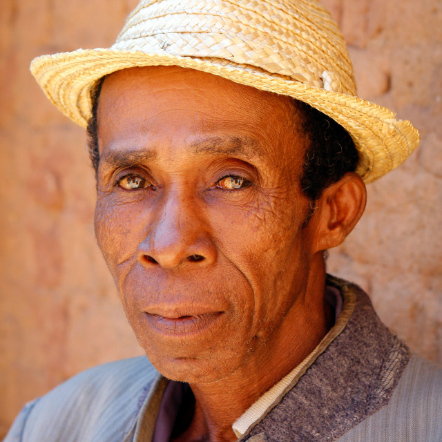 """Portrait of man with hat in Madagascar"" stock image"