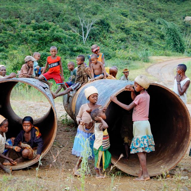 """Land grabbing and exploitation of natural resources"" stock image"