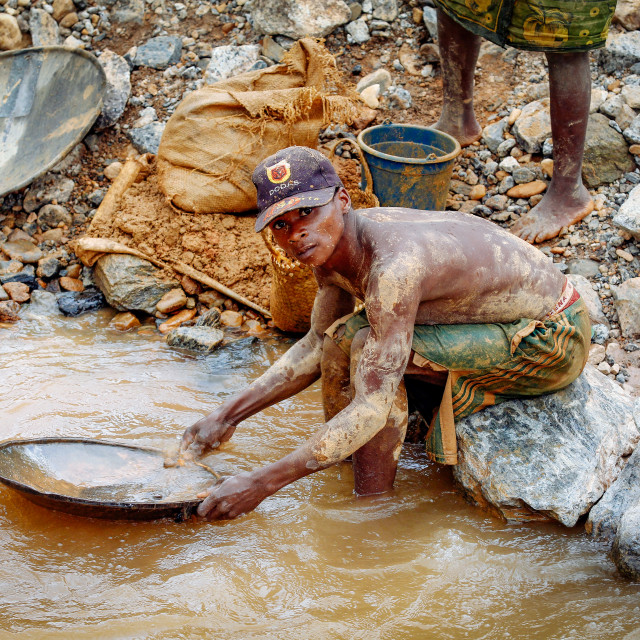 """""""gold prospectors and gold washers"""" stock image"""