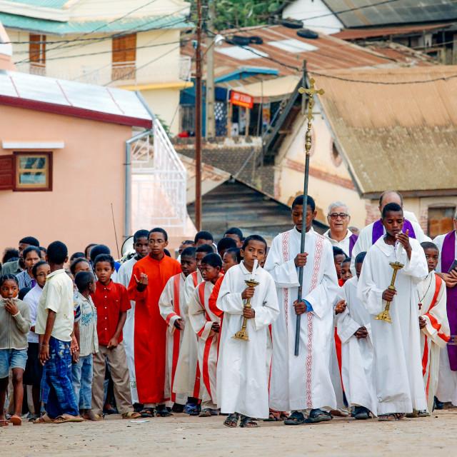 """Catholic parish at the Way of the Cross on Friday"" stock image"