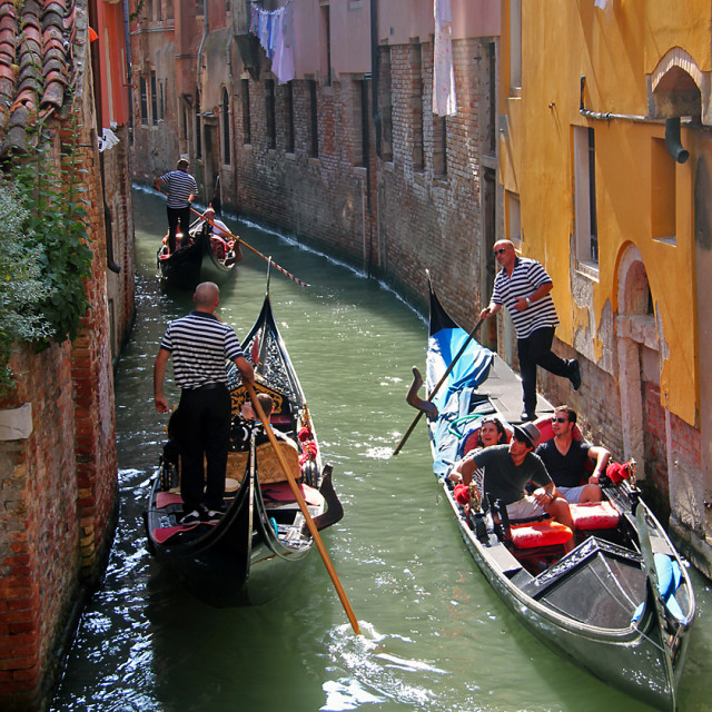 """Gondolas, Venice canals"" stock image"