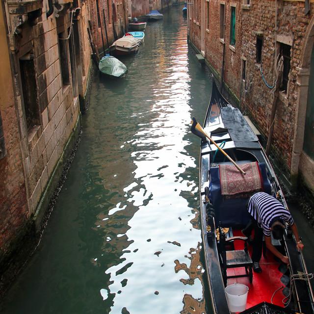 """Reflection, canal and gondola, Venice"" stock image"