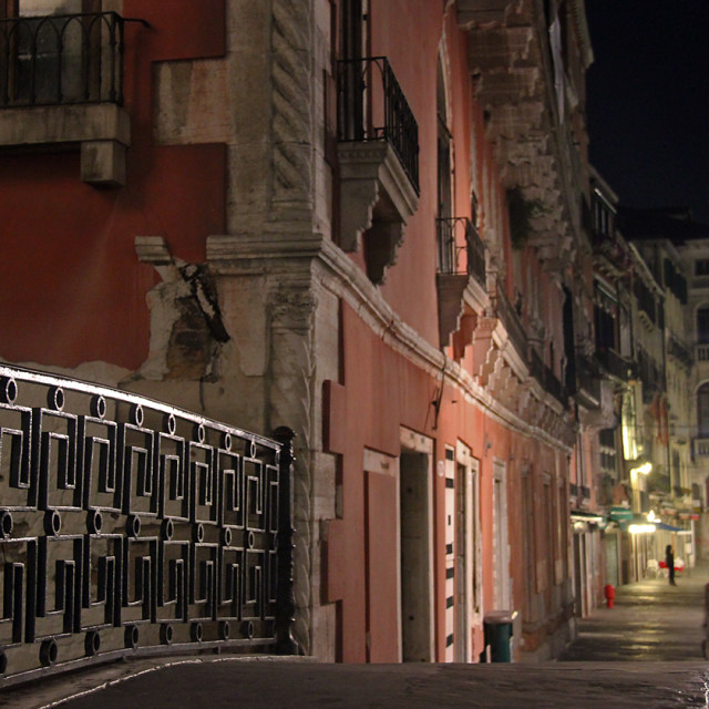 """Bridge at night, Venice"" stock image"