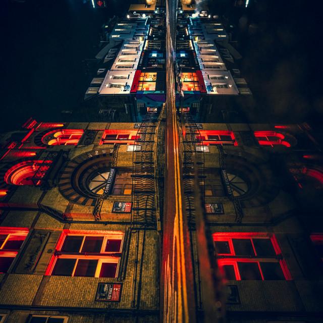 """""""Corn Exchange reflections flipped vertical, Cambridge UK."""" stock image"""