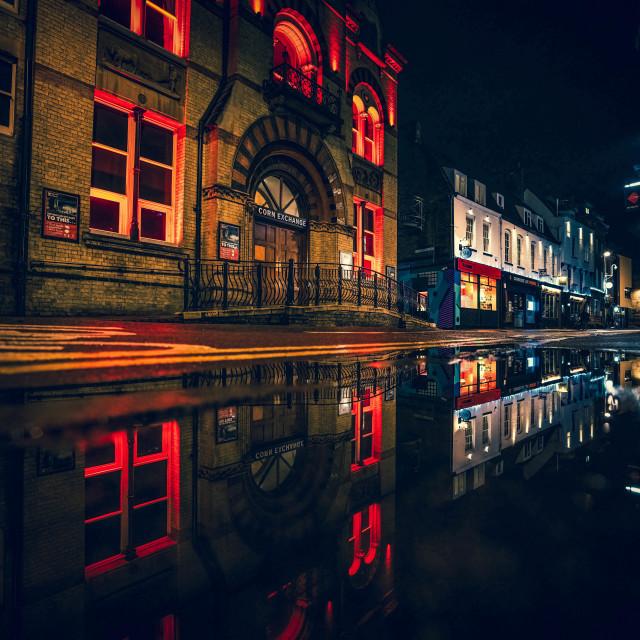 """""""Corn Exchange in reflection, Cambridge UK."""" stock image"""