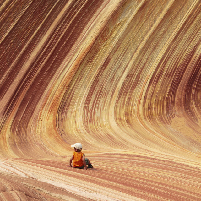 """""""Boy in the wave, north coyote Buttes, Arizona,"""" stock image"""