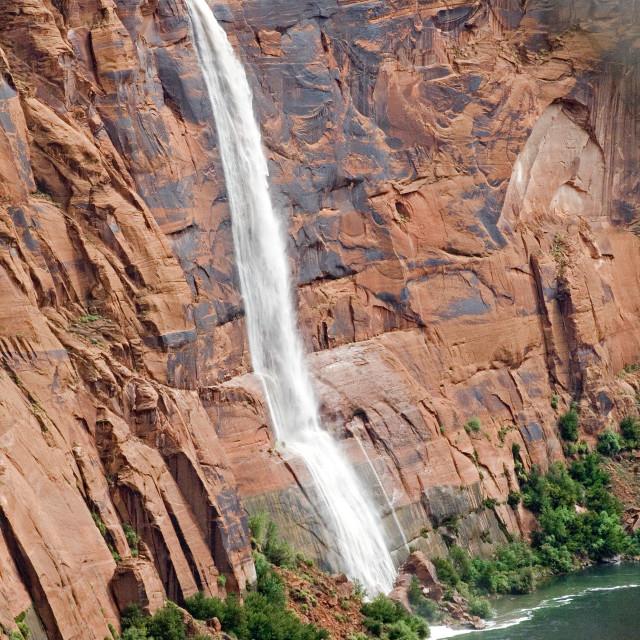 """Flash flood waterfall, Glen Canyon, Arizona"" stock image"