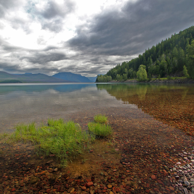 """Reflections, Lake McDonald, glacier national Park, Montana"" stock image"