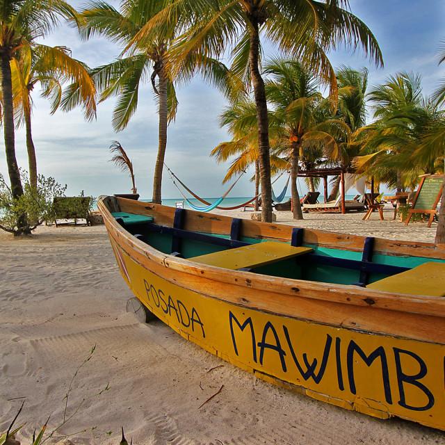 """Fishing boat, Holbox, Mexico"" stock image"