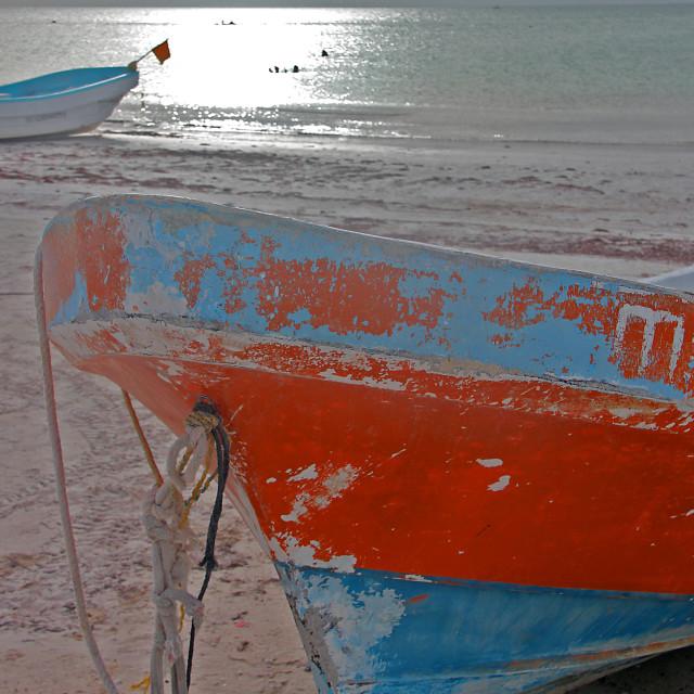 """Fishing boats, Holbox,Mexico"" stock image"