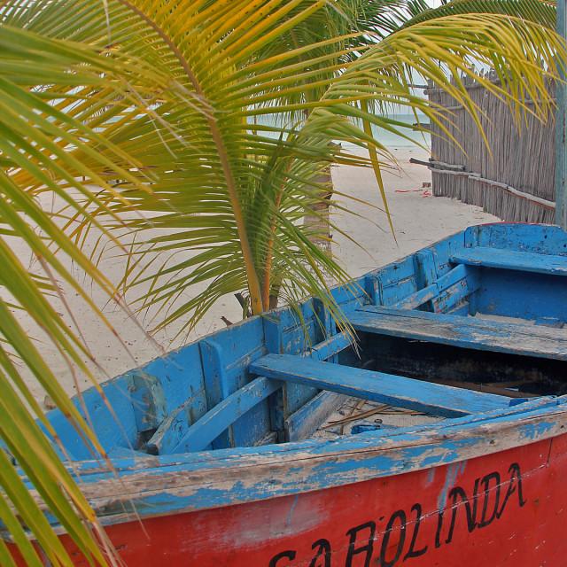 """Fishing boat,Holbox Mexico"" stock image"