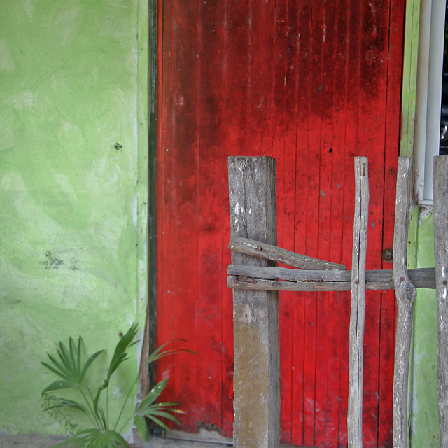 """""""House and door,Holbox,Mexico"""" stock image"""