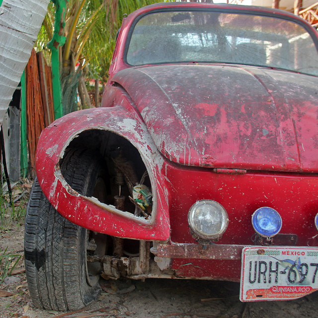 """""""Old Volkswagen,Holbox, Mexico"""" stock image"""