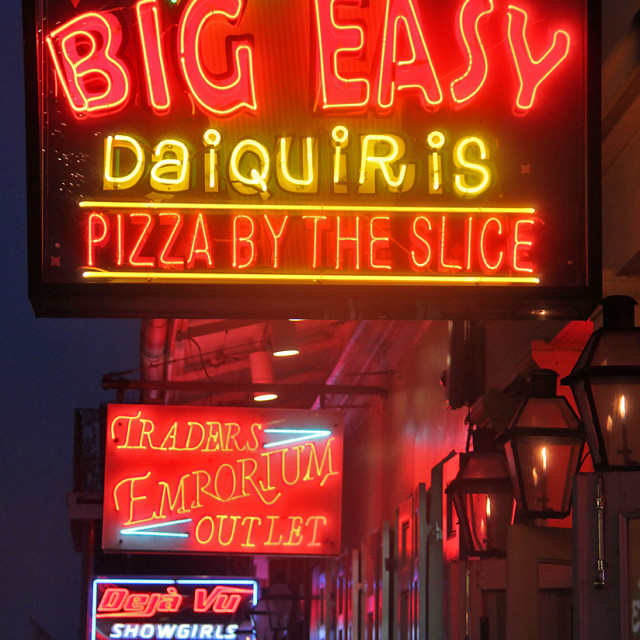 """""""Neon signs, Bourbon St., New Orleans"""" stock image"""