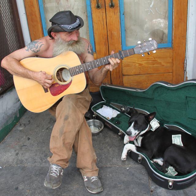 """Street guitarist,New Orleans"" stock image"