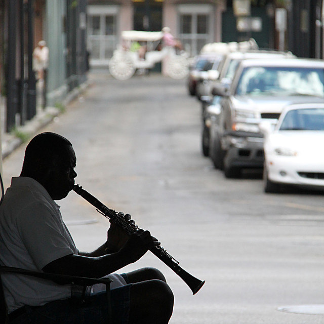 """""""Street musician, New Orleans"""" stock image"""