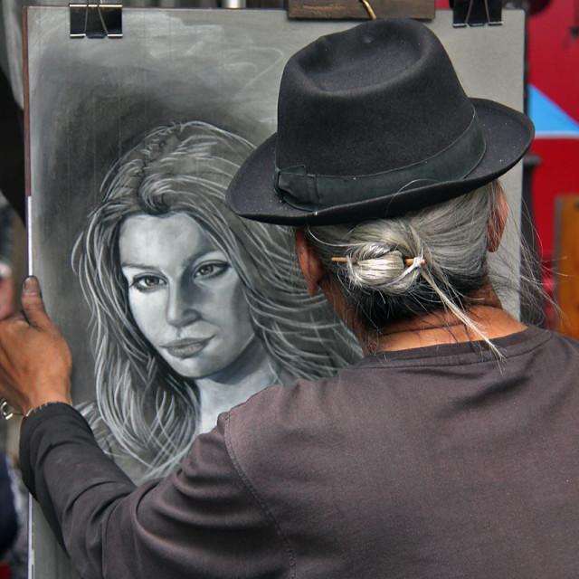 """""""Portrait painter, Montmartre Paris"""" stock image"""