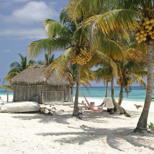 """Beach Huts, Xpu-ha, Mexico"" stock image"