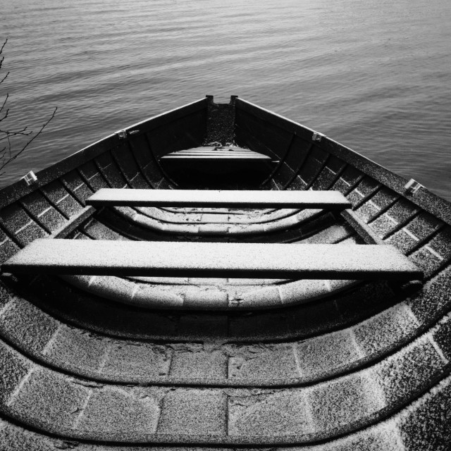 """""""Waiting For An Adventure I (Wooden Rowing Boat)"""" stock image"""