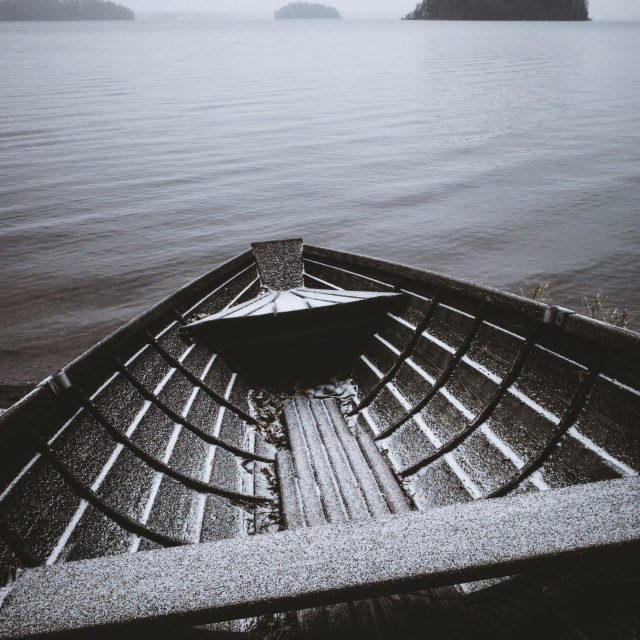 """""""Waiting For An Adventure V (Wooden Rowing Boat)"""" stock image"""