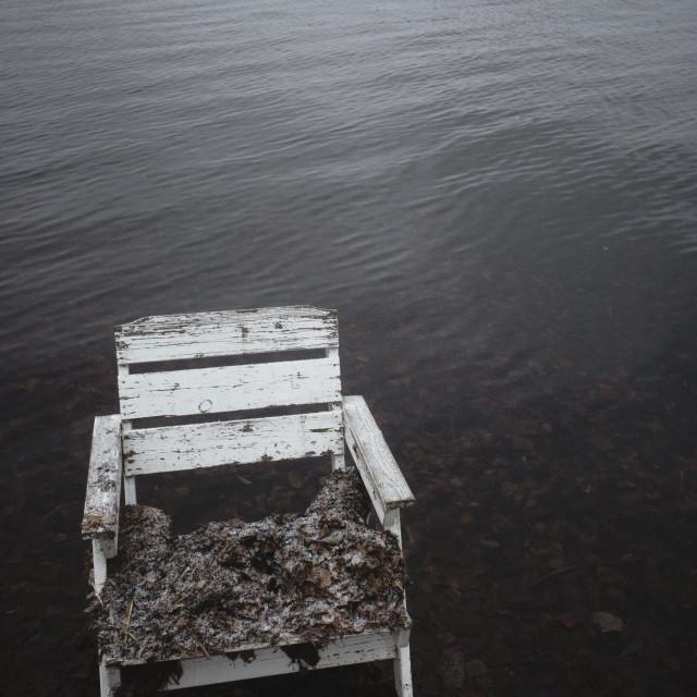 """Spirit Of the Winter Lake I (Garden Chair)"" stock image"