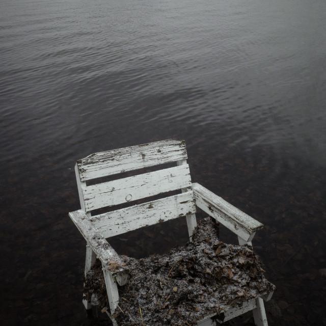 """Spirit Of the Winter Lake II (Garden Chair)"" stock image"