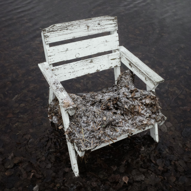 """Spirit Of the Winter Lake III (Garden Chair)"" stock image"