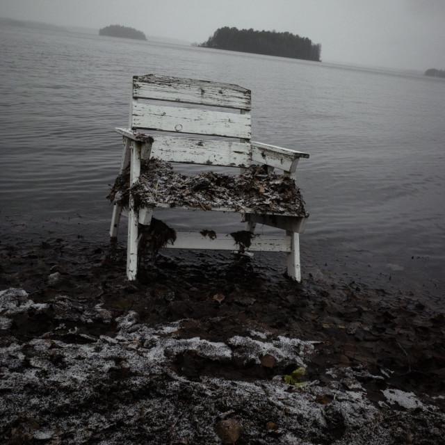 """""""Spirit Of the Winter Lake V (Garden Chair)"""" stock image"""