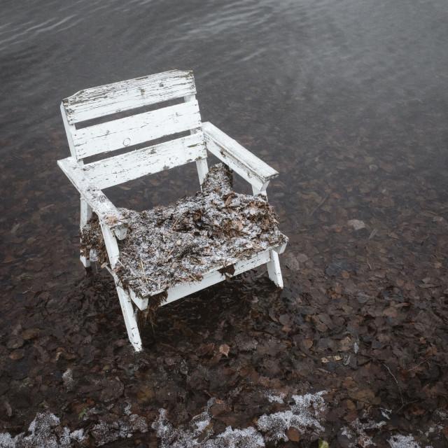 """Spirit Of the Winter Lake IV (Garden Chair)"" stock image"