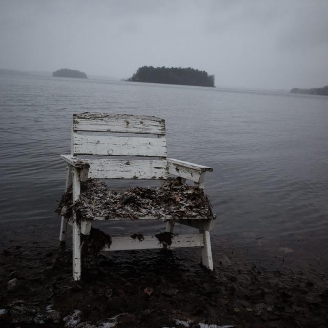 """Spirit Of the Winter Lake VI (Garden Chair)"" stock image"
