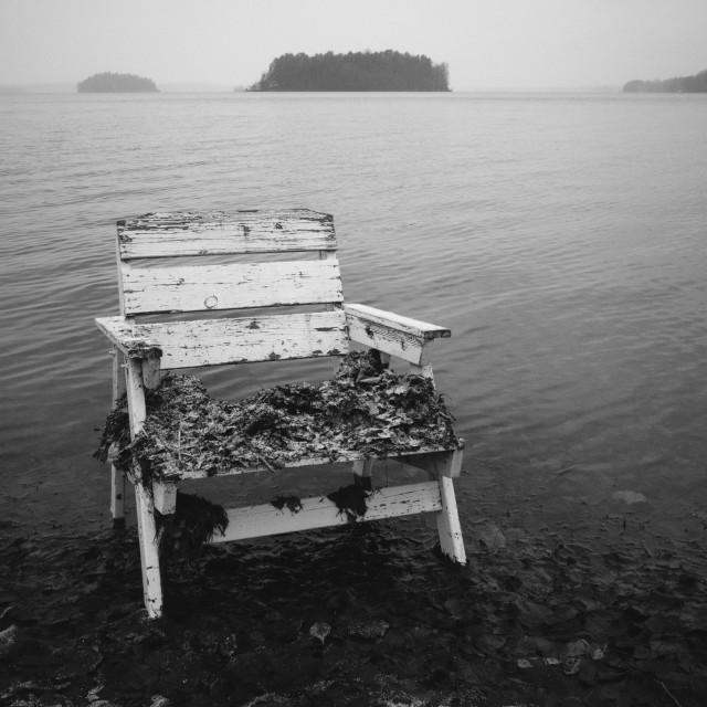"""Spirit Of the Winter Lake VII (Garden Chair)"" stock image"
