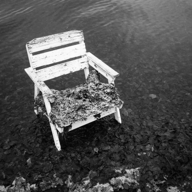 """Spirit Of the Winter Lake VIII (Garden Chair)"" stock image"