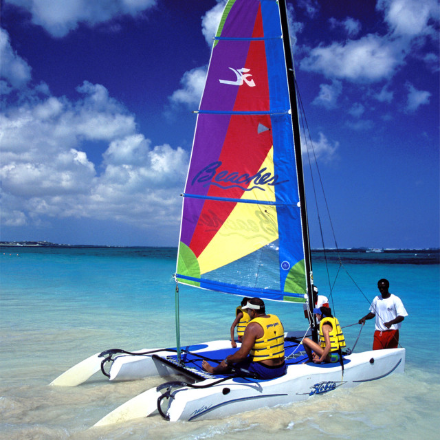 """""""Sailboat,,Turks and Caicos's"""" stock image"""