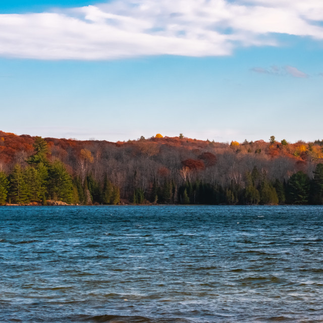 """Forested autumn hills across the lake"" stock image"