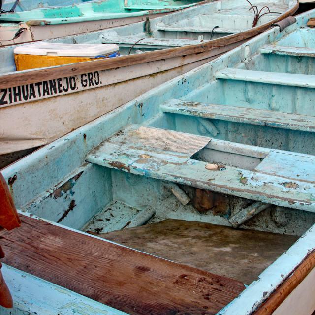 """Fishing boats, Zihuatenejo, Mexico"" stock image"