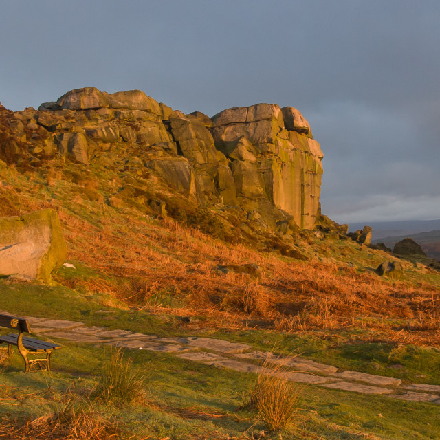 """Cow and Calf Rocks, Ilkley, Sunrise."" stock image"