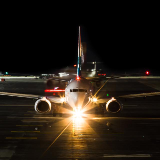 """Boeing 737 Luxair LX-LGQ"" stock image"